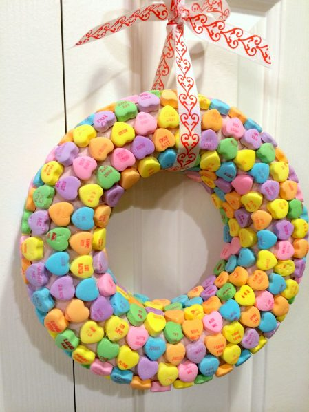 Dollar store craft: Conversation Heart Wreath