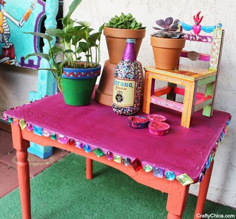 Crafty chalk table makeover by CraftyChica.com