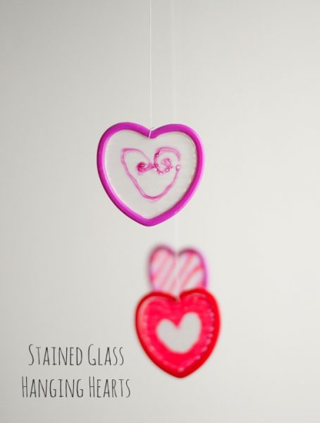 Faux Stained Glass Glue Hearts
