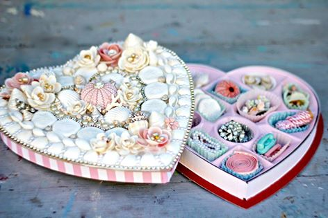 Pretty embellished candy box - valentine's day. Use it to store jewelry?