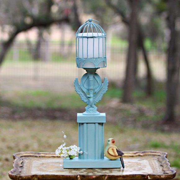 blue trophy candleholder
