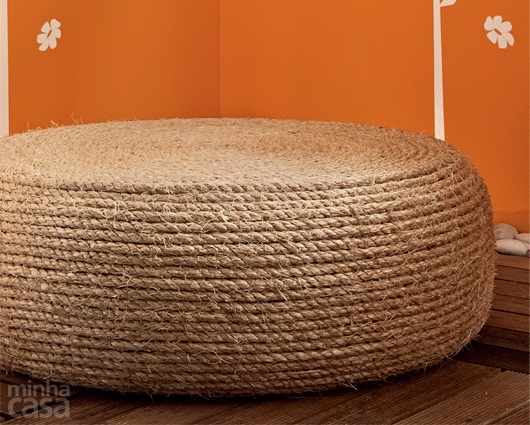 Make a Recycled Tire Rope Ottoman