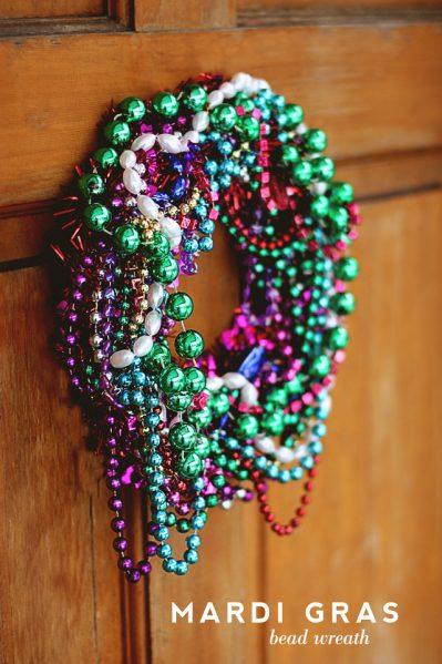 Make a Mardi Gras Bead Wreath