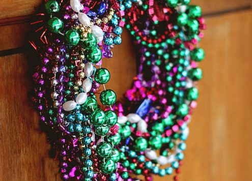 Make a Mardi Gras Bead Wreath
