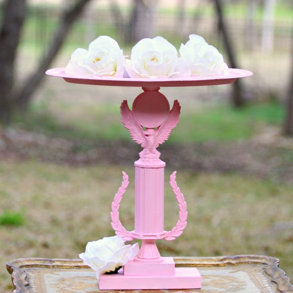 pink trophy candle holder