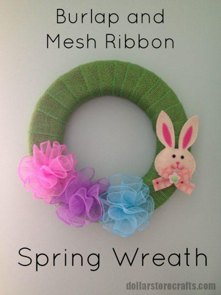burlap and mesh ribbon spring wreath tutorial
