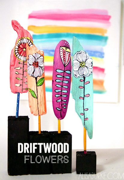 driftwood flower sculptures
