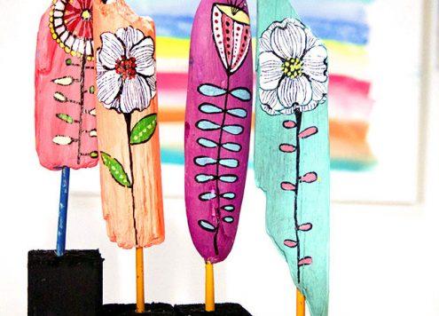 driftwood flower sculptures