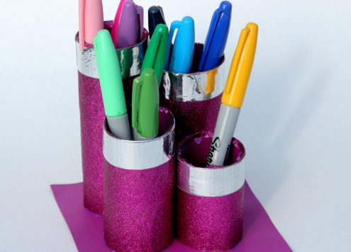 Duck Tape Craft made with recyclables: Paper towel roll desk organizer