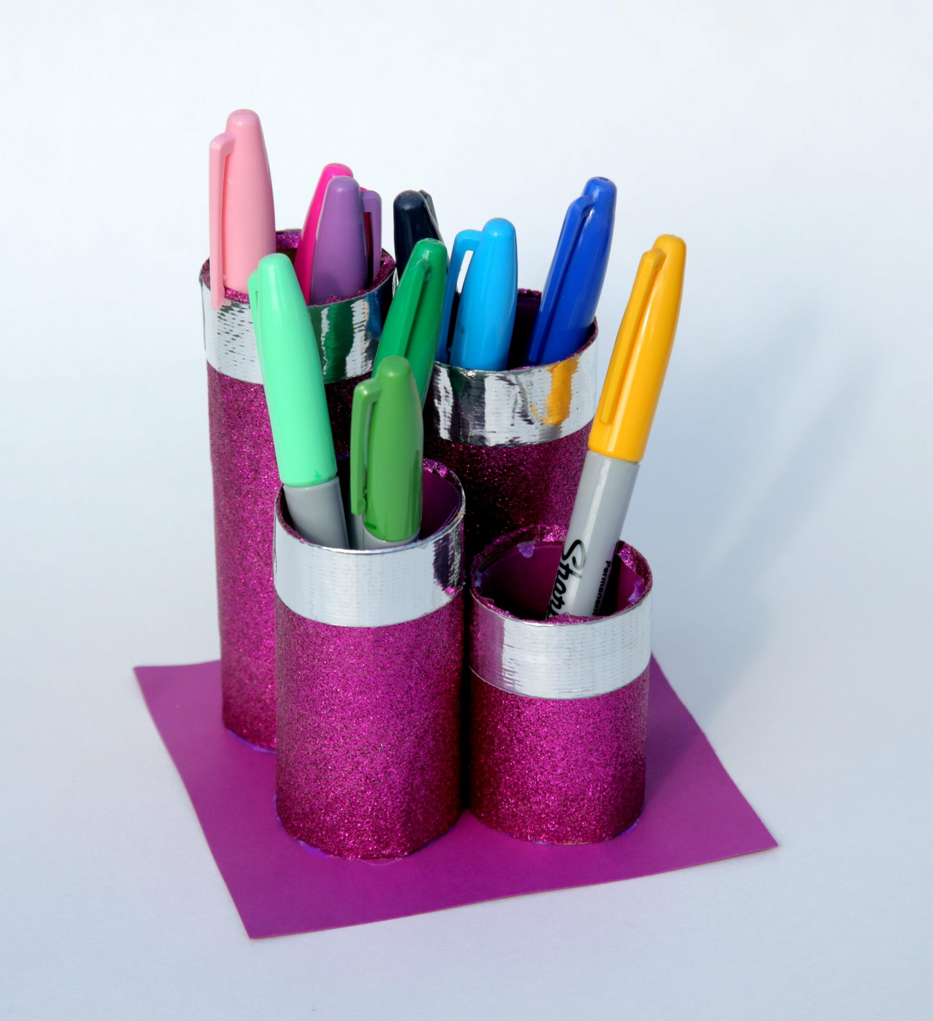 Tutorial: Make a Glittery Duck Tape Pen Organizer (from Recyclables!)