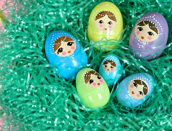 Nesting easter eggs craft -- dollar store craft