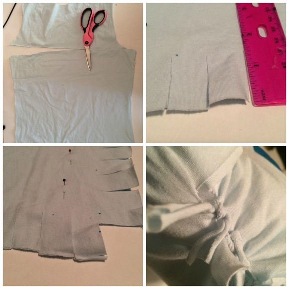 Trim and Tie T-shirt to create a no-sew pillow