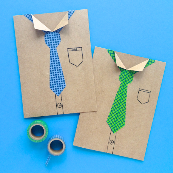 Make Washi Tape Necktie Father's Day Cards