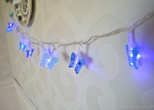 DIY washi tape butterfly lights