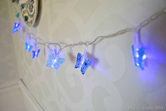 DIY washi tape butterfly lights