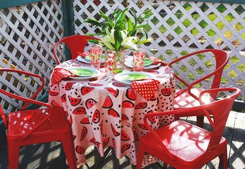 Make a Stamped Watermelon Tablecloth