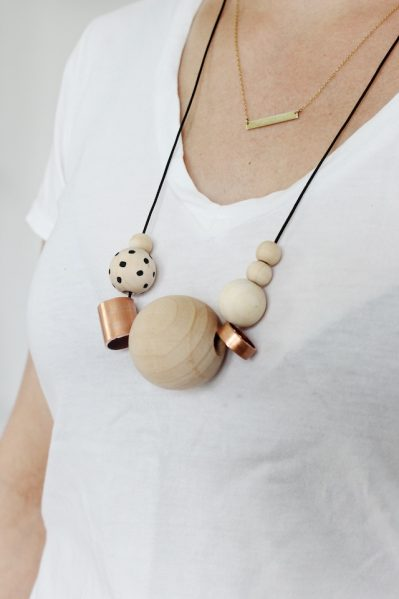 wood and copper necklace