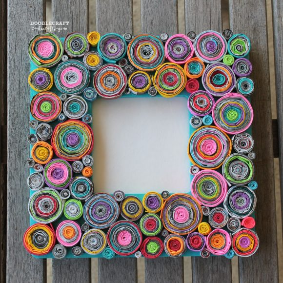 Make rolled paper picture frames dollar store crafts for Paper art projects