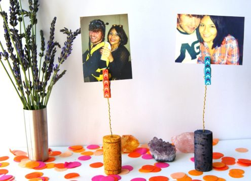 Make wine cork photo holders