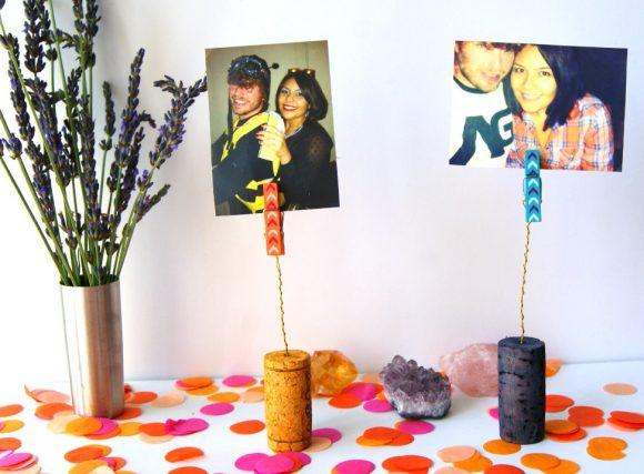 Make wine cork photo holders