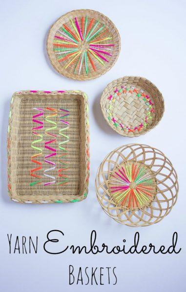 yarn decorated baskets