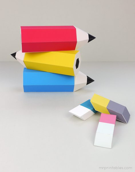 Pencil and Eraser Printable Favor Boxes