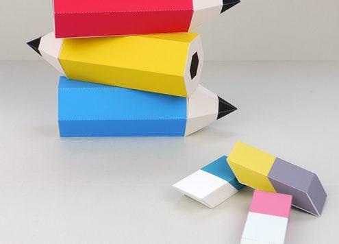 Pencil and Eraser Printable Favor Boxes