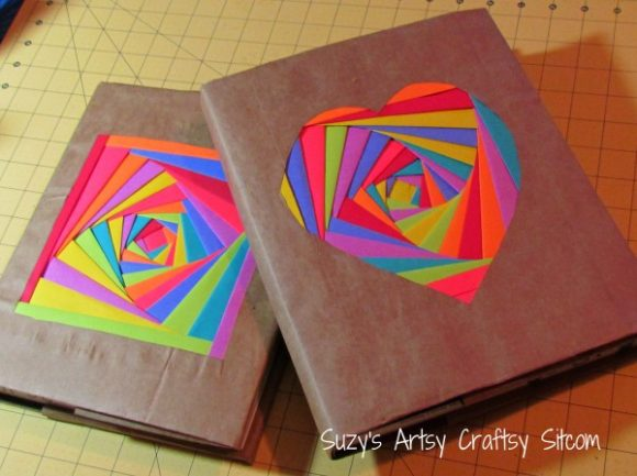 Paper Bag Book Cover Tutorial ~ Make colorful folded paper book covers dollar store crafts