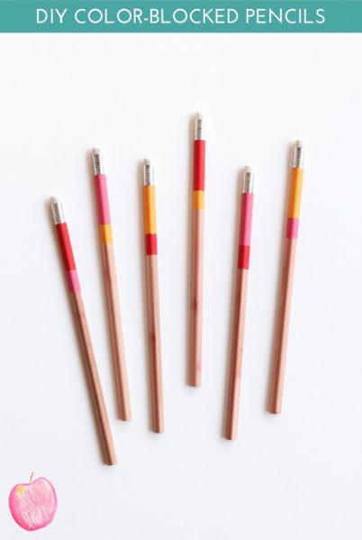 DIY Color Blocked Pencils