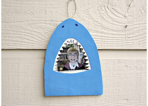 DIY Shark Frame - made with recyclables. Cute & easy! dollarstorecrafts.com