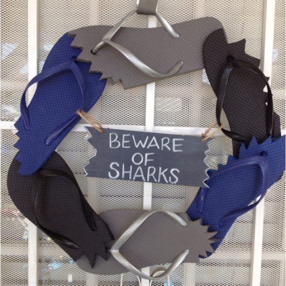 Flip Flop Shark-Bitten Wreath