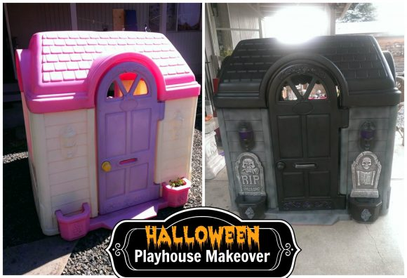 New Halloween makeover for old Little Tykes' playhouse