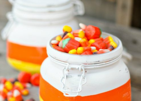 Make Candy Corn Treat Jars