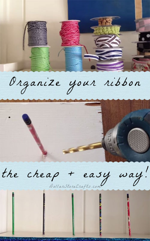 DIY Ribbon Organizer - Do you have an excess of ribbon that you need to tame?  See how I used materials that I had laying around to create super easy, really quick racks to contain my collection!