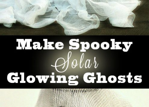 These solar-powered DIY ghost decorations glow in the dark. Can you believe that they only cost me a dollar to make?
