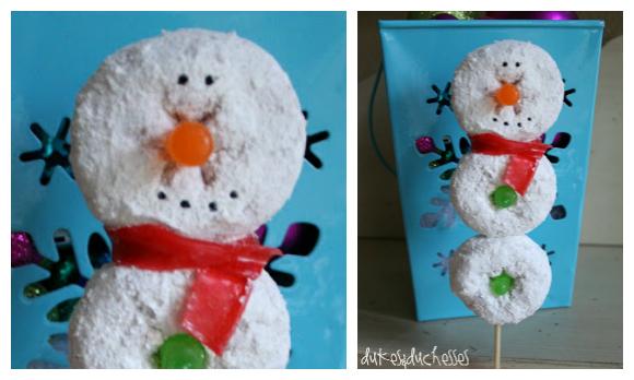 snowman donut skewers