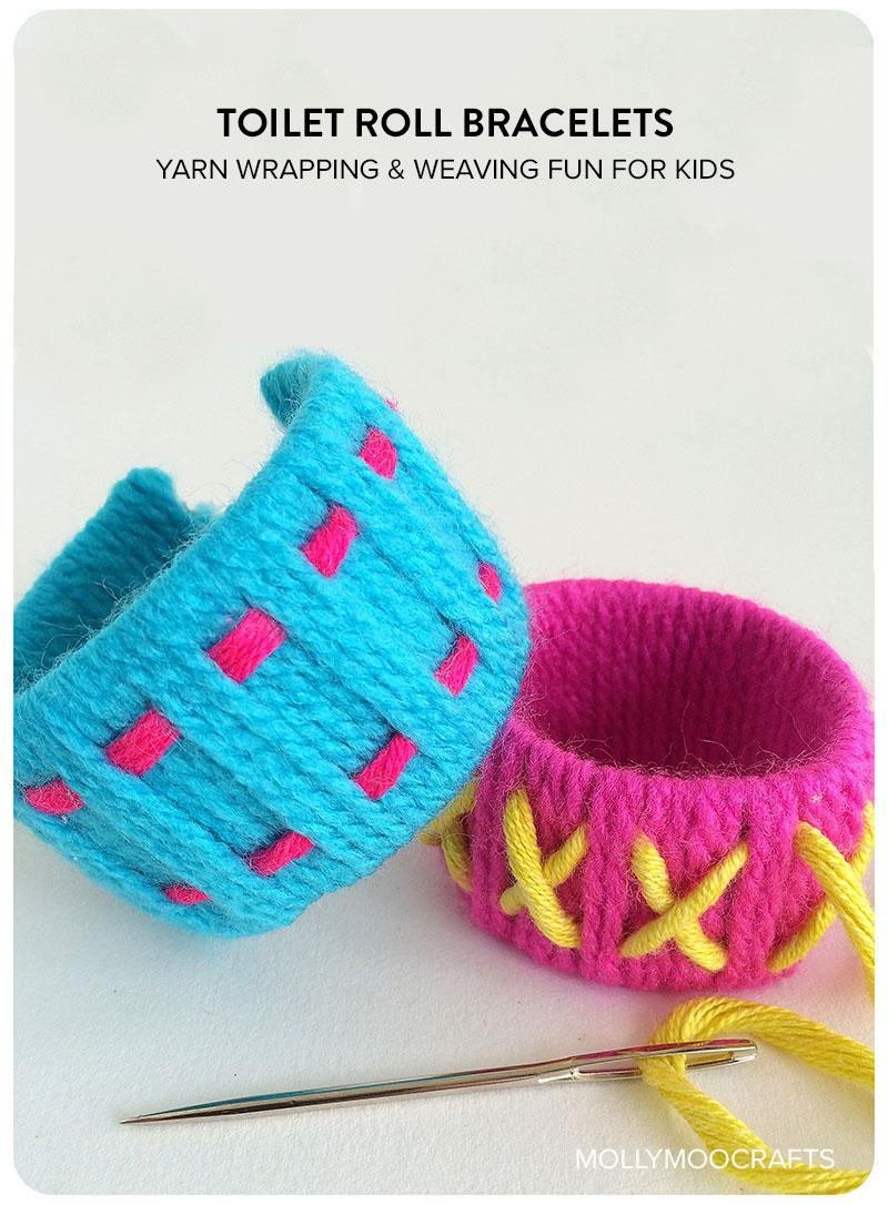 Make Yarn and Cardboard Tube Bracelets