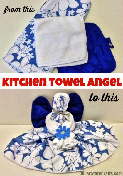 Tutorial kitchen towel angels dollar store crafts for Kitchen crafts to make
