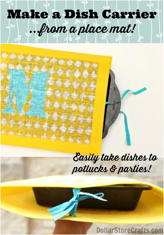 Make a dish carrier -- from a place mat! Great for taking hot dishes to potlucks & parties!