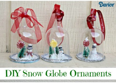 Snowglobe Ornaments from dollar store plastic goblets