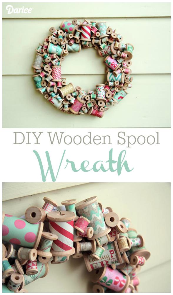 Wooden Spool Wreath DIY