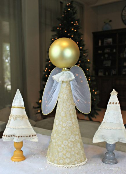 Angel Decor DIY - This week I'd like to show you how to turn a cone and an extra large Dollar Tree ornament into a pretty piece of decor that looks like an angel.