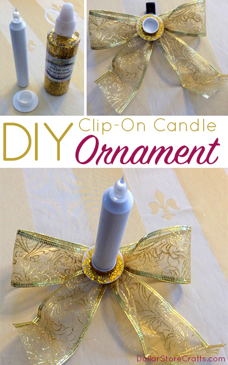 You can make this battery-powered taper candle clip-on ornament with all dollar store supplies.