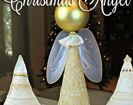 This week I'd like to show you how to turn a cone and an extra large Dollar Tree ornament into a pretty DIY Christmas angel.