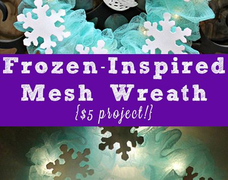 These colorful mesh shower sponges reminded me of floral mesh, so I decided to use them to make a pretty, light up Frozen-inspired wreath for my daughter's door.