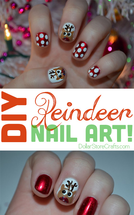 Tutorial Reindeer Nail Art Dollar Store Crafts