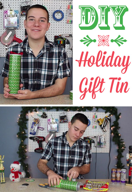 This recycled gift tin is super easy, no fancy gift wrapping skills required.  You can use this idea with many different shapes and sizes of containers, so you can adjust it to fit many different gifts depending on your needs.