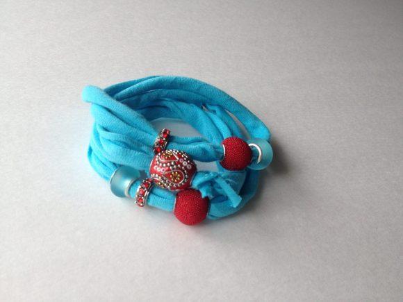 Beaded T-shirt Wrap Bracelet