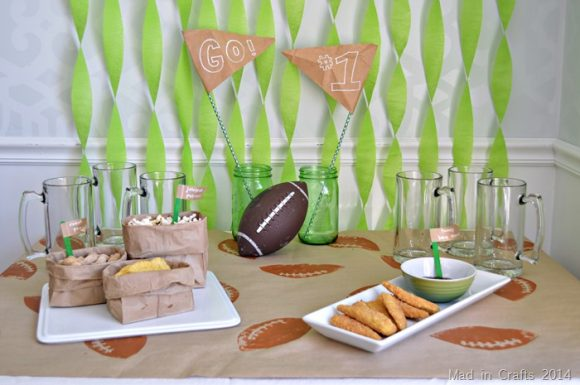 Make a Stamped Football Table Cover