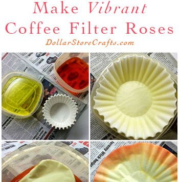 Coffee Filter Roses - There are a zillion ways to make paper flowers - one of our favorite methods is this simple process using coffee filters! This is a great project for budget wedding decor, or cheap decor for your house, since coffee filters come in large packages for cheap.